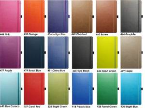 Picture Showing the colours available for the Tucson Company Branded Notebook