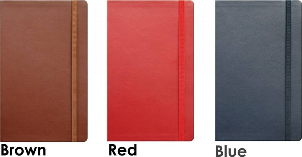 Vitello Branded Leather Notebooks with Flexible covers available in three colours from The Notebook Warehouse