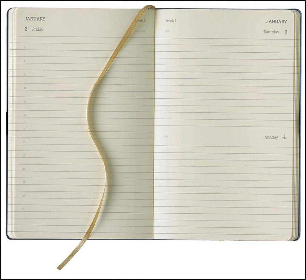 Daily Format of Tucson Ivory Corporate Diaries from The Notebook Warehouse.