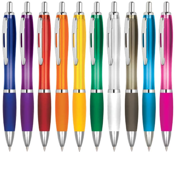 Image showing Group shot of Contour Standard Plastic Promotional Pens. Available in a range of bright colours, from The Notebook Warehouse.