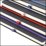 Image Showing Notebooks with Contrast Elastic and Pen Loop. Part of the Bowland Contrast promotional notebooks from The Notebook Warehouse
