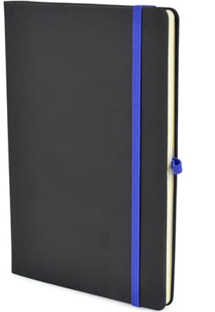 Image showing Black cover notebook with contrast Blue Strap & Pen Loop, part of the Bowland Contrast Promotional Notebooks range from The Notebook Warehouse
