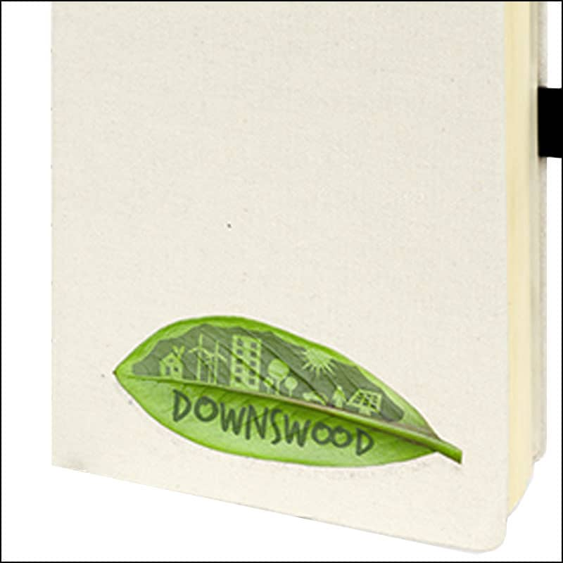 Image showing a digital printed logo on the Downswood Branded Eco Notebooks from The Notebook Warehouse