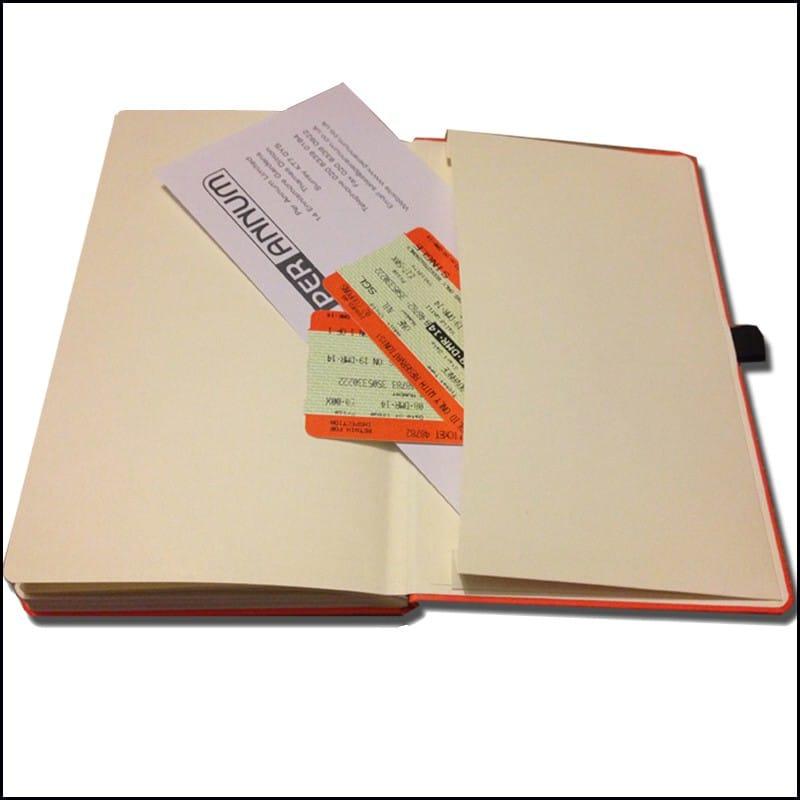 Photo showing inside envelope Pocket on the Mood Branded Notebook