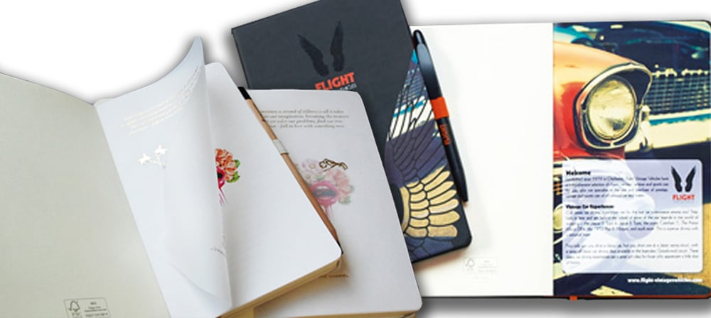 special pages on company branded notebooks from the notebook warehouse